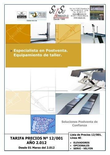 lista de precios elevadores - SEYSU Hidraulica SL