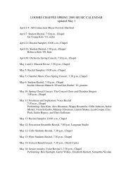 LOOMIS CHAFFEE SPRING 2009 MUSIC CALENDAR updated May 1