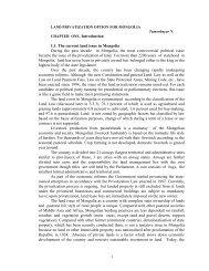 LAND PRIVATIZATION OPTION FOR MONGOLIA