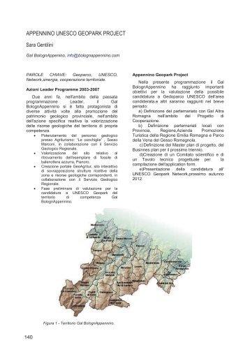 APPENNINO UNESCO GEOPARK PROJECT - Geologia e Turismo