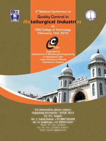 Quality Control in Metallurgical - PSG College of Technology