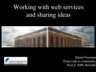 Working with web services and sharing ideas - IGeLU