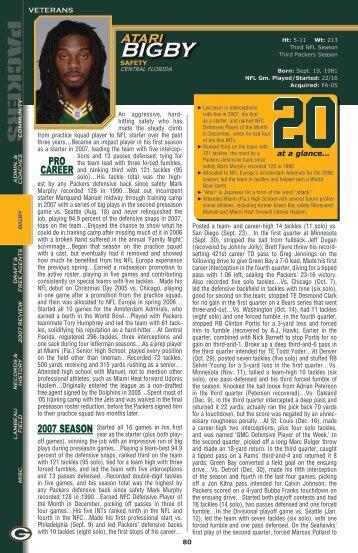 PRO caReeR 2007 seasOn - Packers