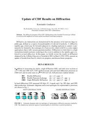 Update of CDF Results on Diffraction - Laboratory of Experimental ...