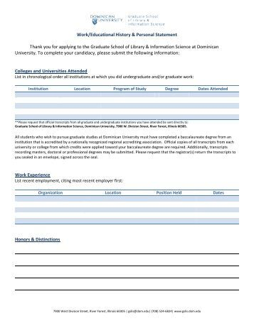 Educational personal statement