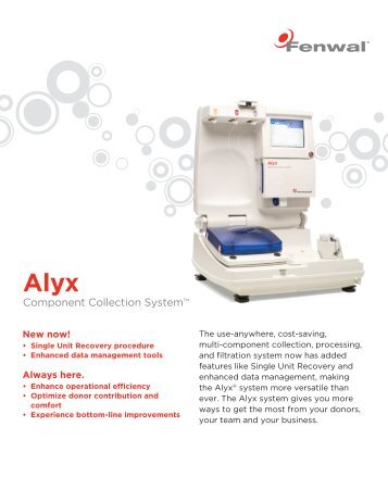 Download the Alyx fact sheet - Fenwal Inc.