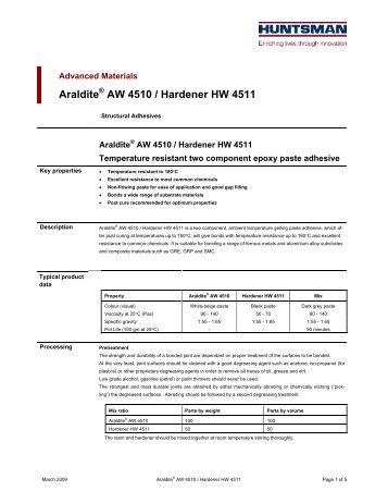 Araldite AW 4510 / Hardener HW 4511 - DanLube