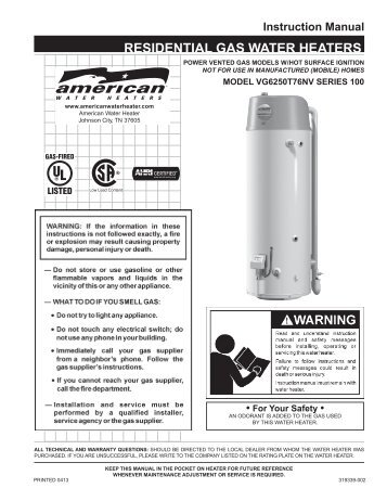 Residential High Efficiency Gas Direct Vent - American Water Heaters