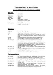 Curriculum Vitae: Dr. Anton Gartner - College of Life Sciences ...