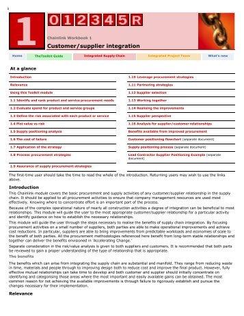 Workbook 1: Customer/Supplier integration - Constructing Excellence