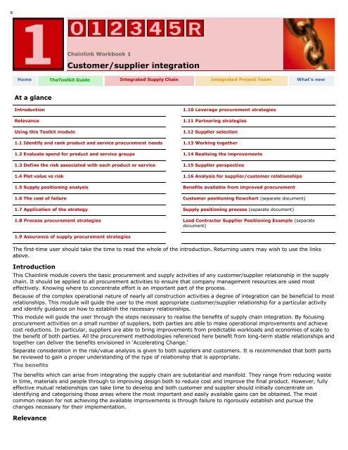 Workbook 1: Customer/Supplier integration - Constructing Excellence