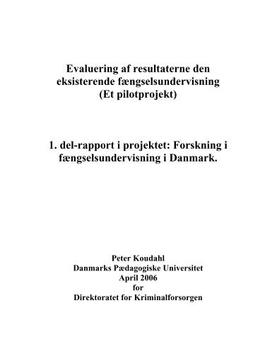 1. del-rapport i projektet - EPEA