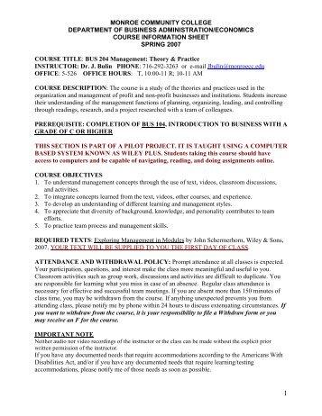 Course Information Sheet - Monroe Community College