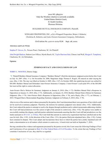 Builders Mutual Insurance Co. v. Winguard - Insurance Coverage ...
