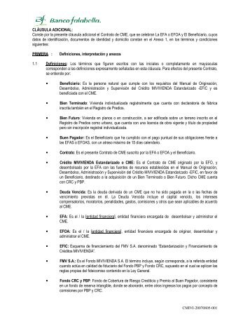 Contrato de Crédito Mivivienda - Banco Falabella