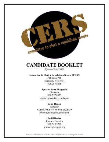 CERS Candidate Booklet 2010 07 13 - Wisconsin Grocers Association