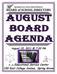 BOARD of SCHOOL DIRECTORS - Spring Grove Area School District