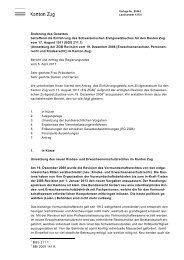 1 Bericht und Antrag des Regierungsrates - Kanton Zug