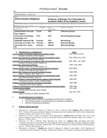 Professional Resume - Southern University New Orleans