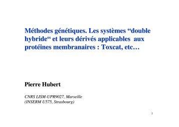 """Méthodes génétiques. Les systèmes """"double hybride"""" et ... - LISM"""