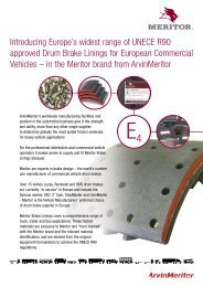 Meritor Brake Linings with UNECE R90 Approval