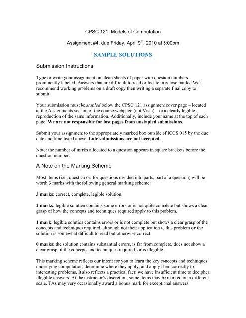 Assignment #4 Sample Solutions - Ugrad cs ubc ca