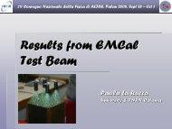 Risultati dal beam test del calorimetro e.m - Gruppo 3 - Infn