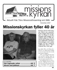 Missionskyrkan fyller 40 år - Missionskyrkan Tibro