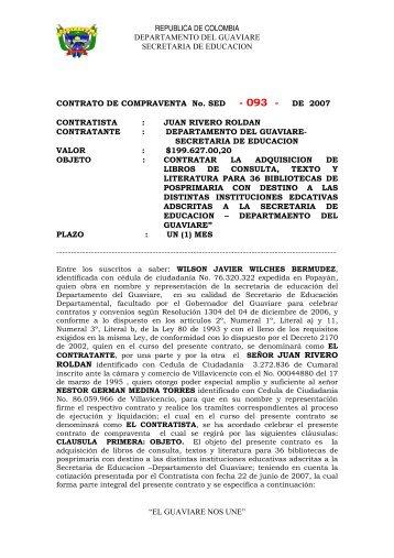 CONTRATO DE COMPRAVENTA No. S - Gobernación del Guaviare