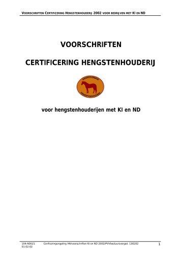Voorschriften Certificering hengstenhouderij voor bedrijven met KI