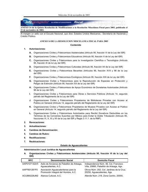 Anexo 14 De La Quinta Resolución De Modificaciones A La