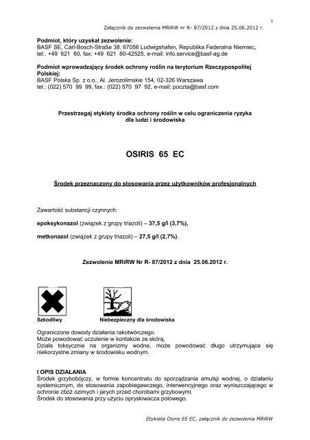 Etykieta Osiris 65 EC - BASF Polska