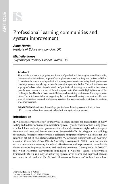 Professional learning communities and system ... - Learning Wales