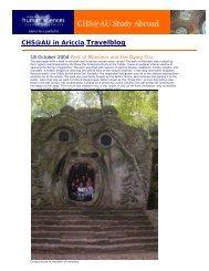 College of Human Sciences: CHS@AU in Ariccia, Italy TravelBlog
