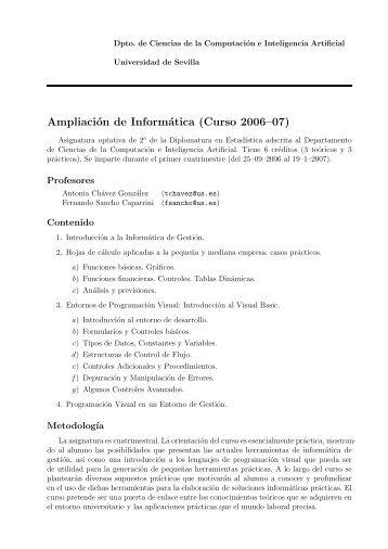 Ampliación de Informática (Curso 2006–07) - Dpto. Ciencias de la ...