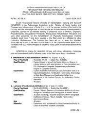 SWAMI VIVEKANAND NATIONAL INSTITUTE OF REHABILITATION ...