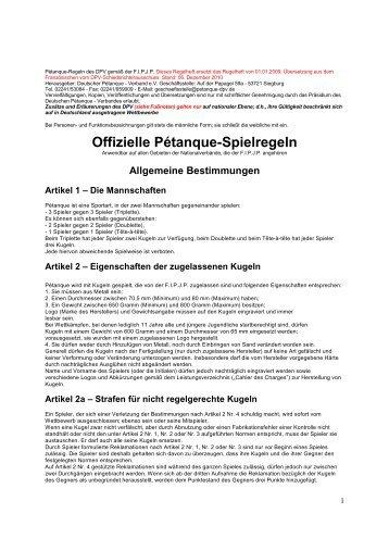 Pétanque-Regeln des DPV - Deutscher Pétanque Verband e.V.