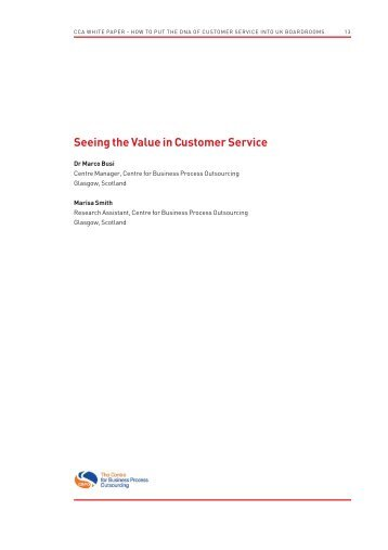 Seeing the Value in Customer Service - Call Centre Association