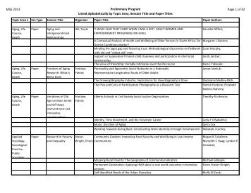 MSS 2013 Preliminary Program Listed alphabetically by Topic Area ...