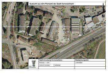 Auskunft aus dem Planwerk der Stadt Kornwestheim