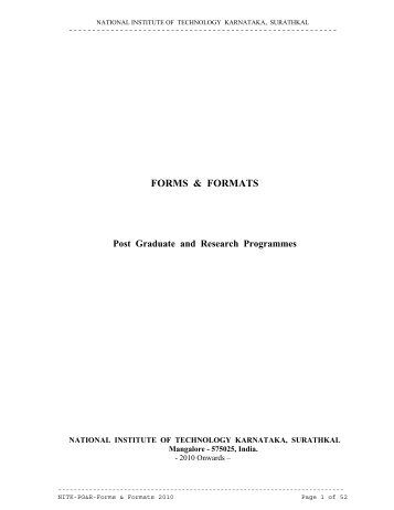 FORMS & FORMATS Post Graduate and Research Programmes