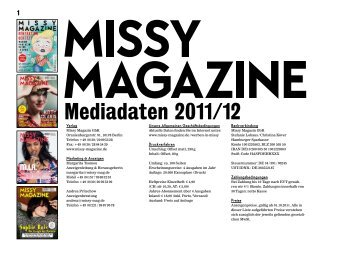 Mediadaten 2011/12 - Missy Magazine