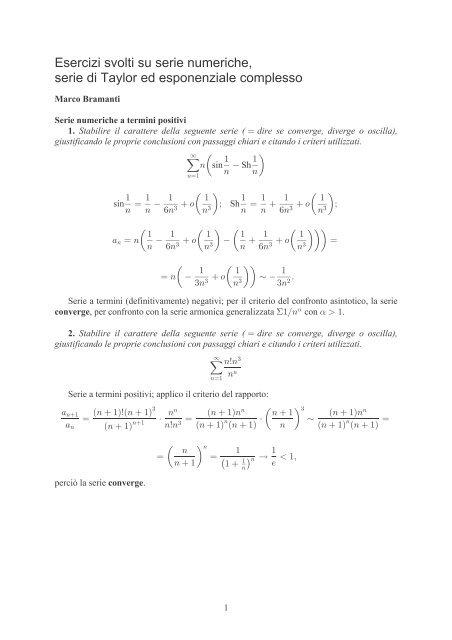 Sviluppo In Serie Di Taylor Esponenziale.Esercizi Svolti Su Serie Numeriche Serie Di Taylor Ed