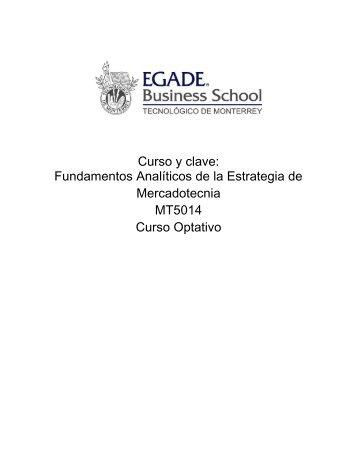 Curso y clave: Fundamentos Analíticos de la Estrategia de ...