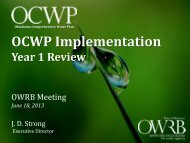 OCWP Implementation: Year 1 Review - Water Resources Board