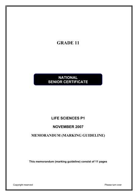 Grade 11 Life Sciences P1 November 2007 Memorandum Marking