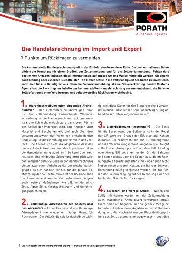 Die Handelsrechnung im Import und Export – 7 Punkte um ... - Porath