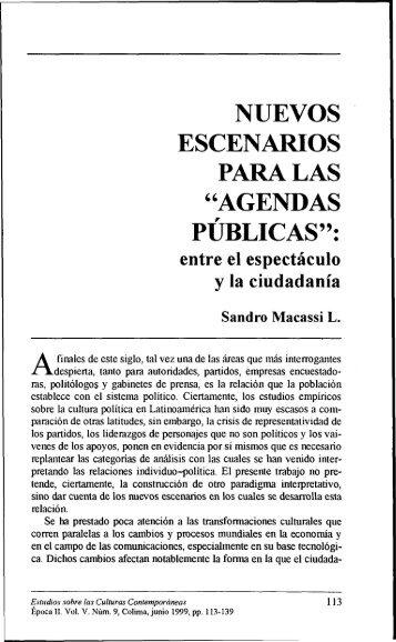 """nuevos escenarios para las """"agendas publicas"""" - Estudios sobre las ..."""