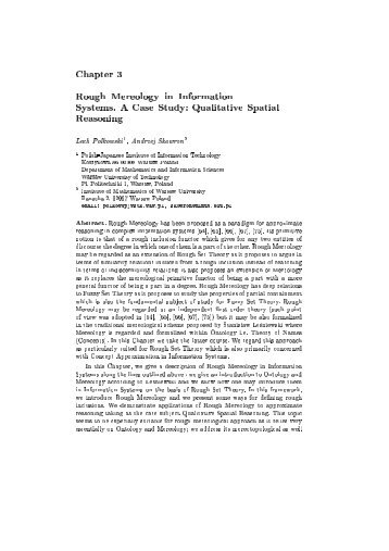 Chapter 3 Rough Mereology in Information Systems. A Case Study ...