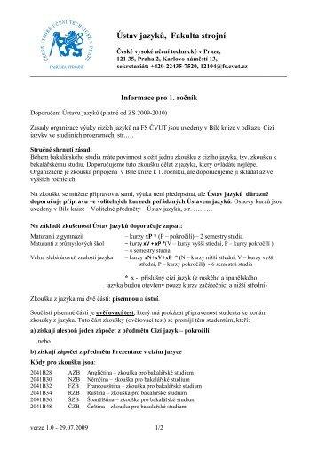 Ústav jazyků, Fakulta strojní - Ústav jazyků Fakulty strojní - ČVUT